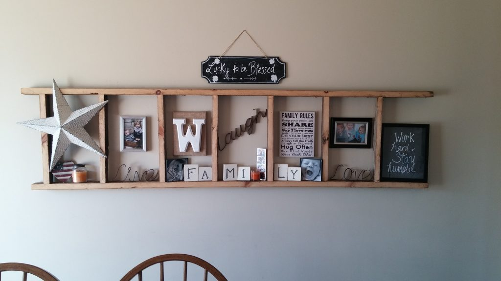 rustic ladder shelf