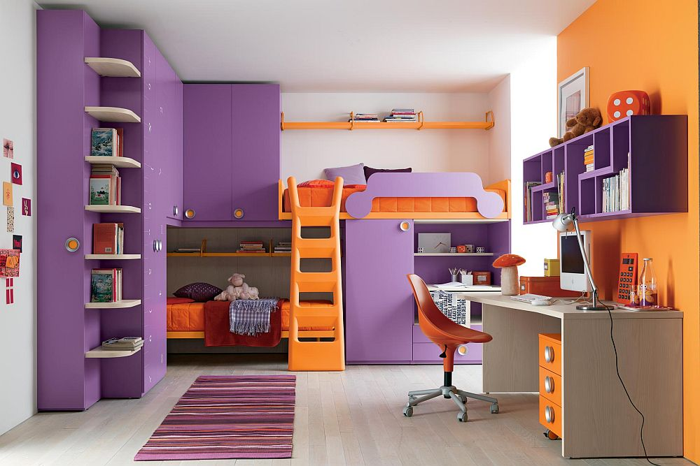 kids bedroom with ladder