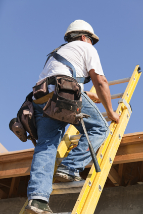 man on ladder with toolbox