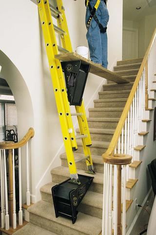 Makeshift platforms for ladders on stairs - Ladders for decorating stairs ...